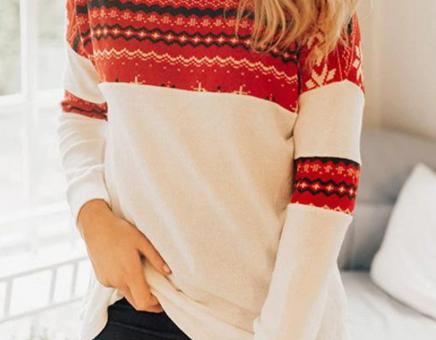 bluza cu motive de iarna, hsine cu motive de iarna